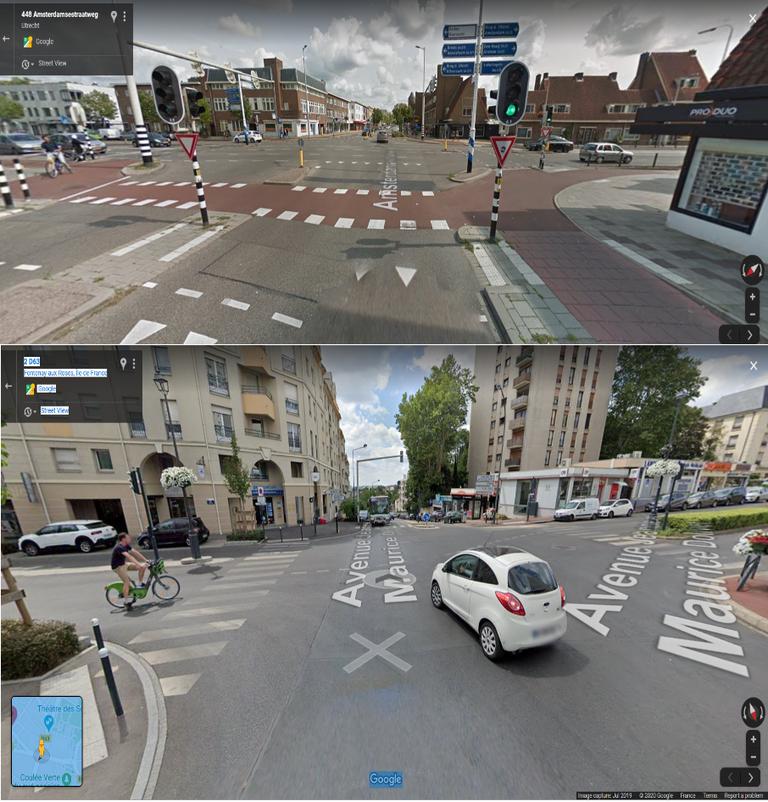 Comparaison entre un carrefour cyclable protégé aux Pays-Bas et un carrefour sans aménagement en France