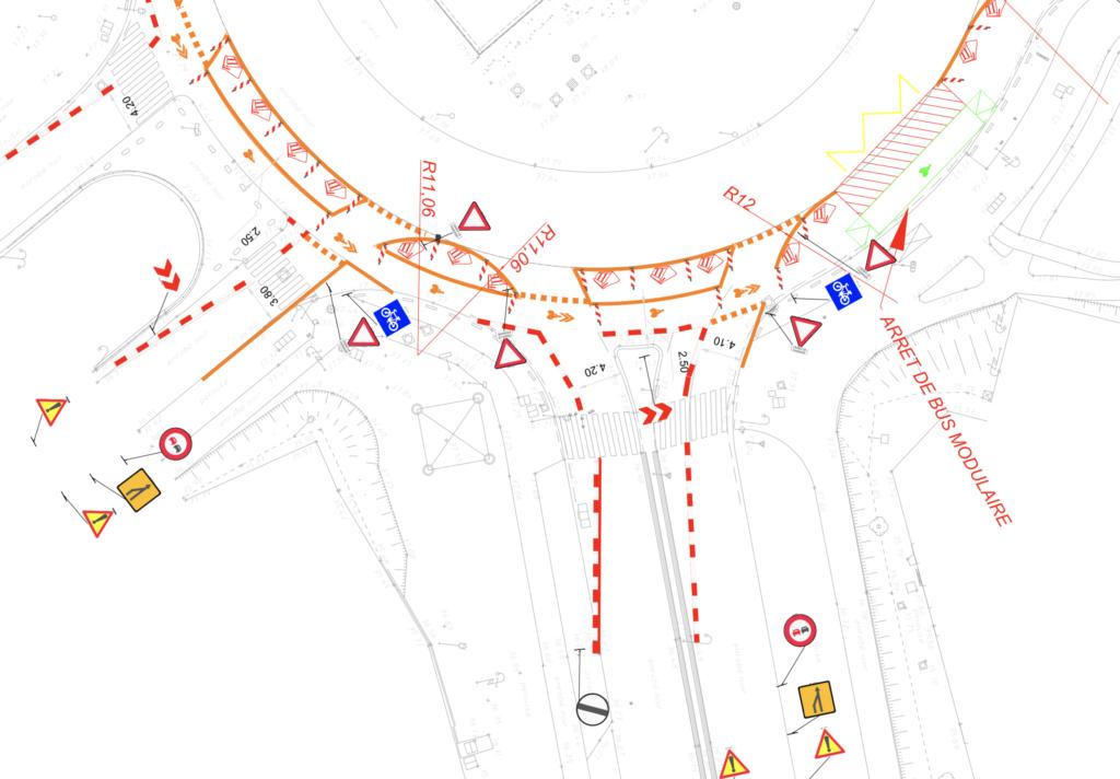 Extrait du plan du carrefour Pompadour à Créteil, branche N6 sud